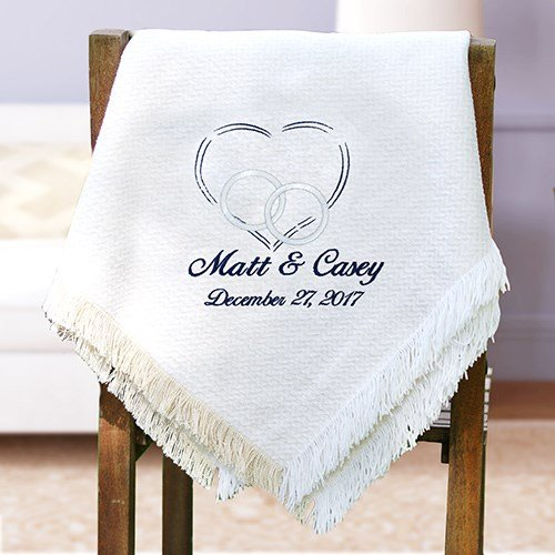 Personalized Wedding Chenille Blanket/Afghan. Multi 2 Layer Throw.