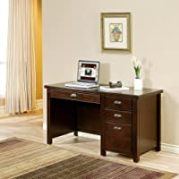 kathy ireland Home by Martin Tribeca Loft Cherry Single Pedestal Desk - Fully Assembled