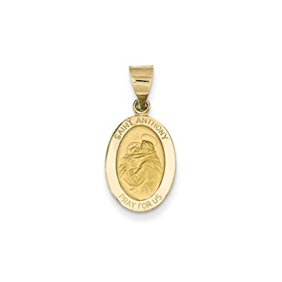 Anthony Medal Pendant 14k White Gold Polished and Satin St