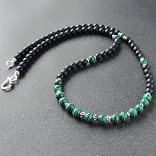 Men and Women Necklace Handmade with 7mm Natural Malachite, 6mm Matte Black Onyx Healing Gemstone Beads Genuine 925 Sterling Silver Spacers, Beads & Clasp