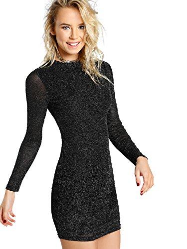 WDIRA Women's Glitter Form Fitting Bodycon Sheath Tee Dress Black XS