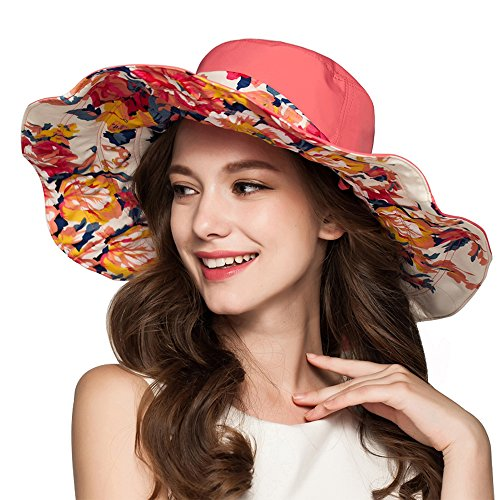 Muryobao Summer Sun Hats UV Protection Extra Wide Brim Hat Floral Reversible Foldable Bucket Cap for Women Beach Fishing Watermelon (Floral Reversible Hat)