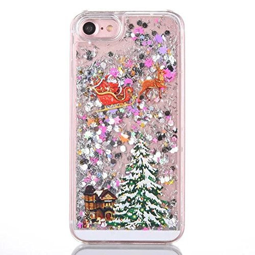 For iphone 5/5S/SE PC Case Christmas Series Pattern Glitter Liquid Floating Moving Clear PC Case Hard With Christmas Tree Santa Claus For Christmas Special Gifts (Colorful-C)
