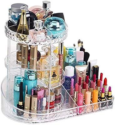 Weq Organizador de Maquillaje, Estuche de Almacenamiento de exhibición de Perfume cosmético Giratorio de joyería Ajustable de acrílico de 360 Grados, tocador, baño y Dormitorio: Amazon.es: Hogar
