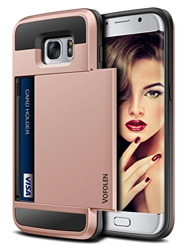 Galaxy S7 Edge Case, Vofolen Slidable Card Holder Galaxy S7 Edge Wallet Case Hybrid Protective Shell Shockproof Rubber Bumper Armor Scratch-proof ID Card Slot Case Cover for Galaxy S7 Edge - Rose Gold