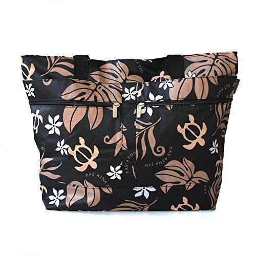 (Hawaiian Print Double Zipper Tote Bag in Honu Turtle Flowers in)