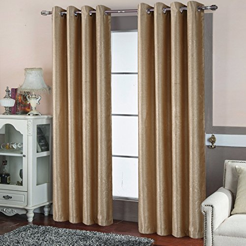 BLC Window Treatment 2-Piece Blackout Grommet Embossing Room Curtains Panels Solid Grommet Blackout Curtains Panels Drapes (52 x 63,Beige - Embossing pattern)