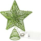 CVHOMEDECO. Green Glittered 3D Tree Top Star with Warm White LED Lights and Timer for Christmas Tree Decoration and Holiday Seasonal Décor, 8 x 10 Inch