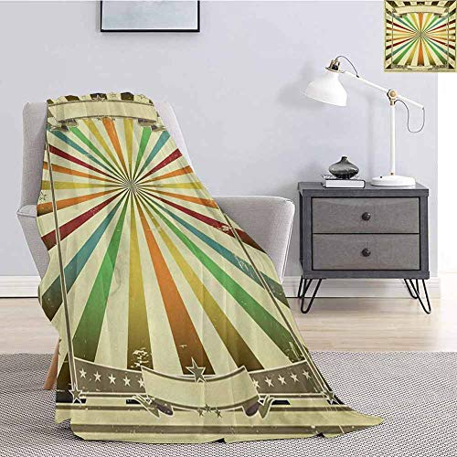 Luoiaax Vintage Rainbow Children's Blanket Colorful Burst of Lines with Poster Design with Stars Circus Illustration Lightweight Soft Warm and Comfortable W60 x L70 Inch Multicolor