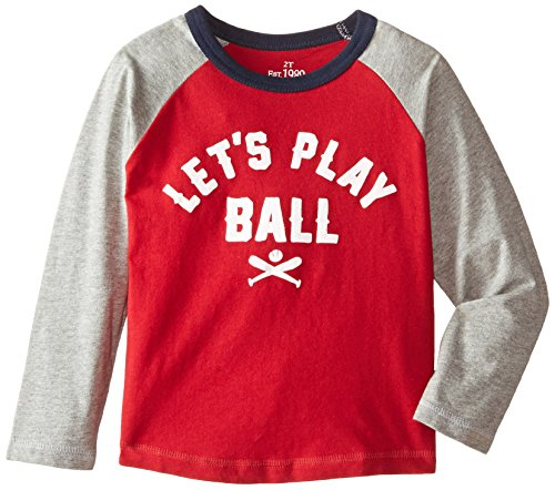 The Children's Place Little Boys' Long Sleeve Raglan Tee, Classic Red, 4T