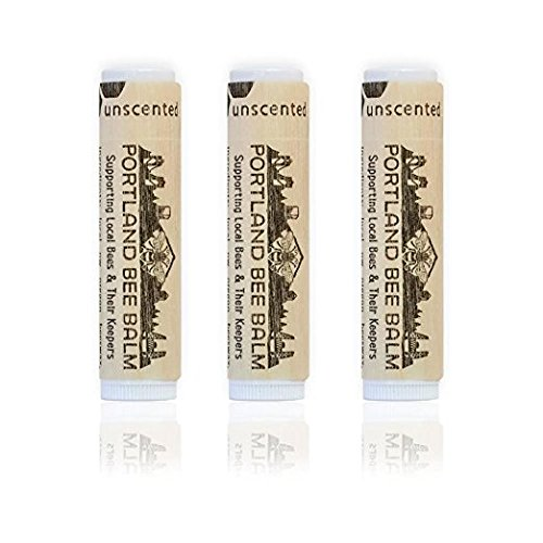 Portland Bee Balm, Beeswax Based Lip Balm - Unscented, Pack of 3