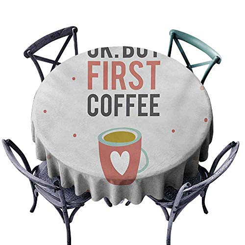 Pcglvie Wrinkle Resistant Tablecloth Funny Words OK But First Coffee Quote Mug with a Heart Shape on Polka Dotted Background Multicolor for Kitchen Dinning Tabletop Decoration D51 (Fiestaware Mugs Best Prices)