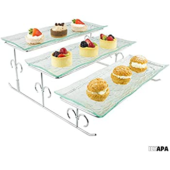 Brand-new Amazon.com | 3 Tier Rectangular Serving Platter, Tiered Food Tray  PY08