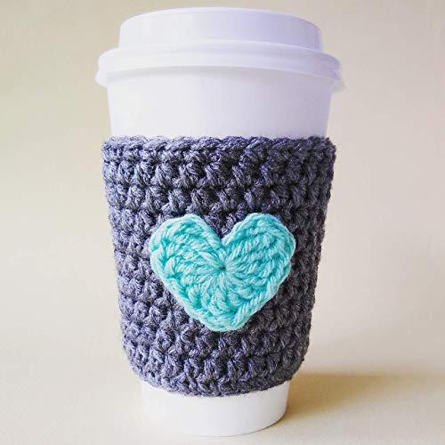 Amazoncom Coffee Cozy Gray With Mint Heart Handmade