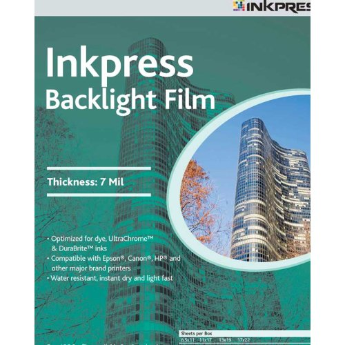 Inkpress Backlight Film - Inkpress Backlight Translucent White Semi-matte Inkjet Film, 7 mil, 11x17
