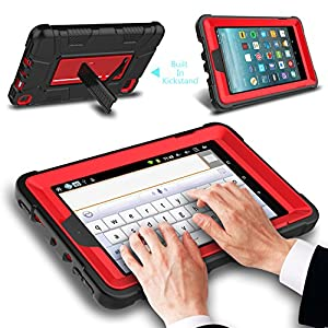 """All-New Amazon Fire 7"""" 2017 Case , Elegant Choise 7th Generation Fire 7 Heavy Duty Shockproof Armor Rugged Protective Case Cover with Stand for Amazon Kindle Fire 7 2017 Release (Red/Black)"""