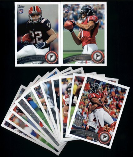 2011 Topps Atlanta Falcons Complete Team Set of 13 cards (4-pocket notebook) including Matt Ryan, Turner, White, Grimes, Julio Jones RC, Rodgers - Turner Notebook