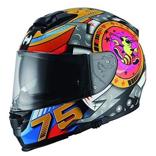 HYDRA Full Face Dual Visor Matte Black Street Bike Motorcycle Helmet DOT Approved (XX-Large, Musca Orange)