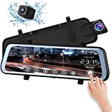 """CHICOM Mirror Dash Cam Backup Camera 9.66"""" Full Touch Screen Stream Media Dual Lens Full HD Reverse Camera,1080P 170° Full HD Front and 1080P 140°Wide Angle Full HD Rear View Camera,24-Hour Parking"""