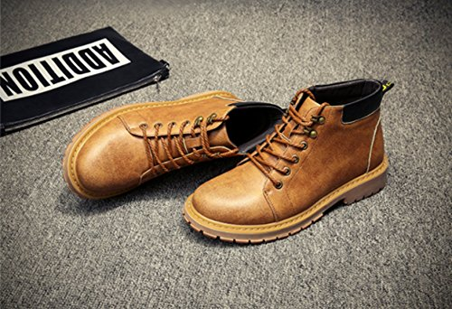 Sport Vera Martin Inverno Office Stivali Shoes Casual Carriera Uomo Autunno In Giallo 2017 Tooling Retro Pelle wIF6w