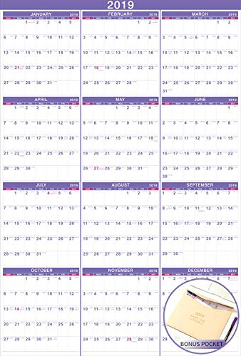 2019 Wall Calendar - 2019 Yearly Full Wall Calendar with Thicker Paper, January 2019 - December 2019, Bonus Pocket, 34.3