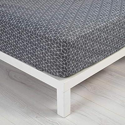 Douceur dIntérieur Optic – Sábana Bajera (algodón, Antracita/Blanco), algodón, Gris/Negro, 90 x 190 cm: Amazon.es: Hogar