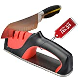 Kitchen Knife Sharpener, Professional 3-Stage Kitchen Knife Sharpening System tool, Helps Repair, Restore and Polish Blades,Non-slip Base Chef Knife Sharpening Kit Easy to Control.