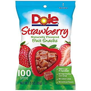 Dole Naturally Flavored Fruit Snacks, Strawberry,  3 Ounce Bag, (Pack of 8)