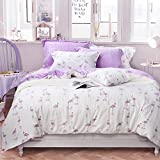 Flamingo Bedding Duvet Cover Sets for Girls Ultra Soft Washed Cotton Comfortable Bedding Set,Cream White & Pink, Double Size Pack of 3