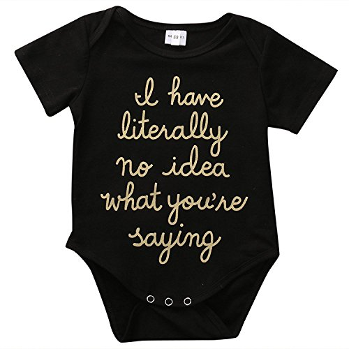 Funny Newborn Baby Boys Girls Golden Letter Printed Summer Black Romper Bodysuit Outfit (0-3 Months) (Onesies Sayings)