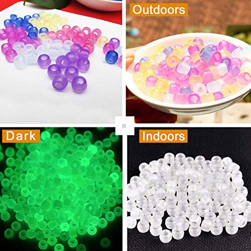 TSLIKANDO(TM) 1000pcs UV Beads Multi Color Changing UV Reactive Beads, Also Glows in the Dark, Great for Bracelets Necklace and Jewelry Making