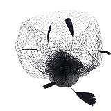 Mujeres Tocado para pelo, diseño de flor, bodas y fiestas Bridal Veil accesorio de cabello,  Negro