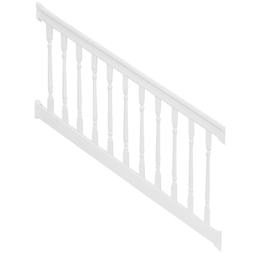 Weatherables Delray 36 in Vinyl White Colonial Stair Railing Kit x 72 in