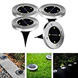 Solar Powered Ground Light, Geediar 4pcs 4 led 40LM Water-resistant Landscape Spike Lighting Garden Decking Led light for Lawn Pathway Yard Driveway Patio Walkway Pool Area, White