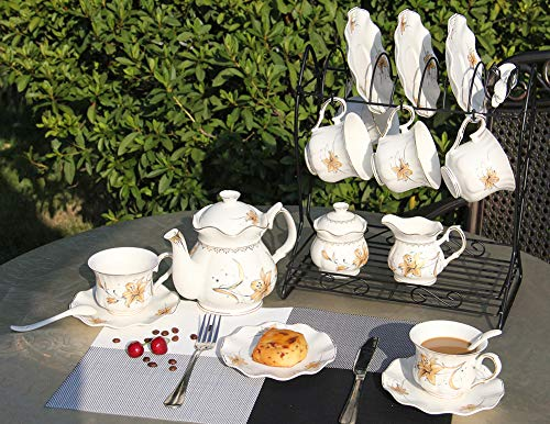 Porcelain Ceramic Coffee Tea Sets 21 pieces with Metal Holder,Cups and Saucers Sets and Spoons for 6,with Teapot Sugar Bowl Cream Pitcher by CHP (Image #1)