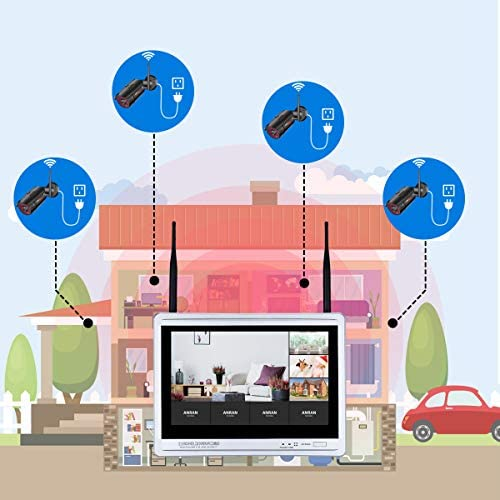 [All-in-One] 1080P Home Security Camera System Wireless with 12 Inch Monitor WiFi Surveillance NVR Kits,8 Channel WiFi Video Security System with 1TB HDD with 4Pcs 2.0MP IP Cameras,Free APP by ANRAN 51fwODfyasL