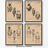 Original Star Wars Characters (Ewoks & more) Patent Art Poster Prints - Set of 4 (Four 8x10) Unframed - Great Wall Art Decor Gifts Under $20 for Home, Office, Studio, Garage, Man Cave, Kids Room