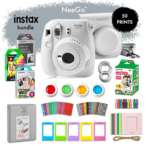 NeeGo Instax Mini 9 Instant Camera Bundle-Deluxe Kit with Camera, Matching Case & 4 Fun Film Packs-Rainbow, Stained Glass, Monochrome & White 50 Exposures for Instant Creative Photos-Smokey White