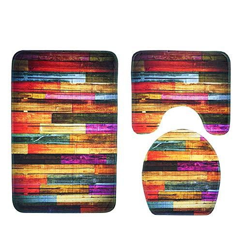 (TechCode Flannel Bathroom Rug, Flannel Fabric Non Slip Colorful Stripe Home Bathroom Bath Mat Sets Accessories, Bath Mat + Pedestal Mat + Toilet Seat Cover Mat 3pcs(A06))
