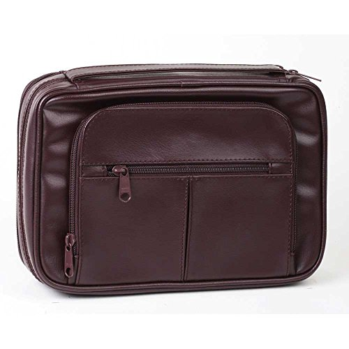 Large Burgundy Leather Like Reinforced Bible Cover Case with Handle and Stationary