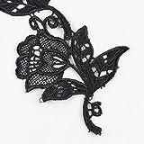 Floral Motifs Boho Black Lace Applique Trim Sequins