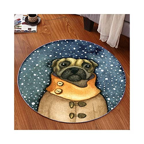 PLY Living Lounge Kitchen Rugs,New Floor Mat 3D Cartoon Round Home Creative Mat Non-Slip Bedroom Balcony Carpet(6 A Sizes) (Color : B, Size : 60)