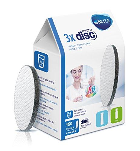 BRITA MicroDisc – 3 filtros para el agua – Cartuchos filtrantes compatibles con botellas Fill&Go y Fill&Serve que reducen la cal y el cloro