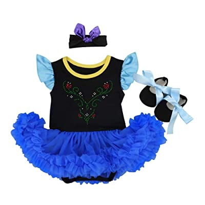 Baby Girls Princess Coronation Costume Fancy Dress Party Romper Bodysuit Cosplay Headband Shoes 3pcs Outfits Set: Clothing