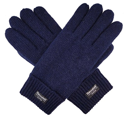Bruceriver Men's Pure Wool Knitted Gloves with Thinsulate Lining Size L/XL (Navy)