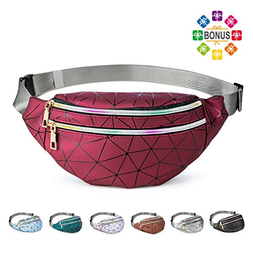 Fanny Packs for Women Men, Cute Fanny Pack for Kids Teens Girls Boys, Fashion Waterproof Waist Pack with Multi-Pockets Adjustable Belt, Casual Bag Bum Bags Hip Pouch (Claret Red Fashion Fanny Pack)