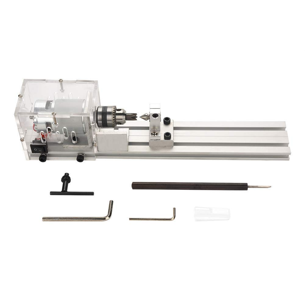 Mini Lathe Machine Woodworking DIY Lathe Set Miniature Buddha Pearl Lathe(Lathe Miniature Standard + Cutting Function) Zerodis