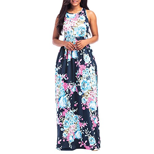 KESEELY Women Floral Print Round Neck Sleeveless Long Maxi Casual Beach Dress Floor Length Dress Dark -