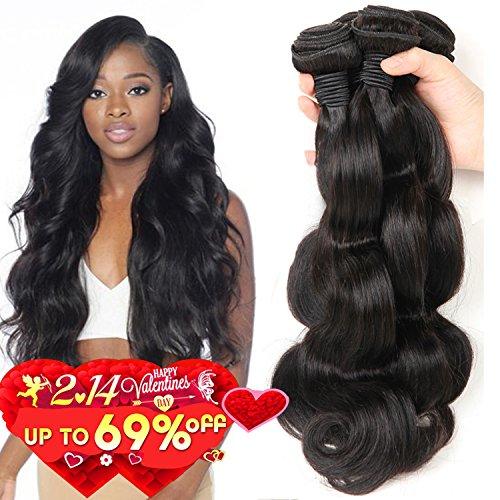 Bestsojoy Brazilian Body Wave 4 Bundles 100% Human Hair Bundles 8A Unprocessed Brazilian Virgin Hair Natural Color Hair Extension (24 24 26 26)