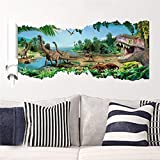 3D Dinosaurs Wall Stickers Jurassic Park Home Decoration. Diy Cartoon Kids Room Animals Decals Movie Mural Art Posters 4.0^.